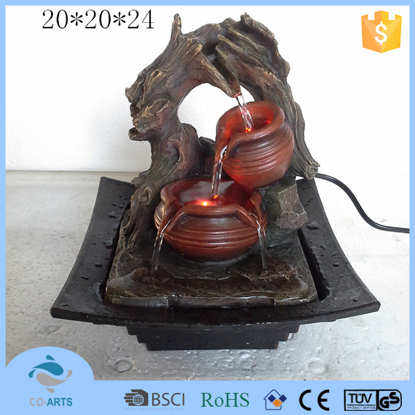 Made in china factory polyresin water fountain with led light