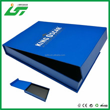 custom packaging clothes cardboard paper gift box with blue printing and magnetic closure