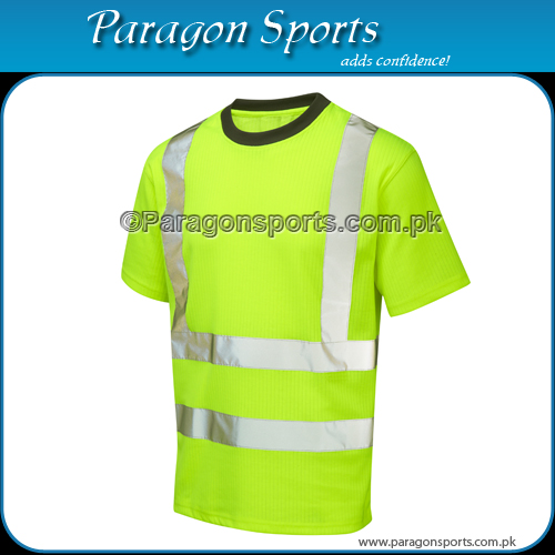 Hi-vis Safety T-Shirt with Reflective Tape , Fluorescent Green Color