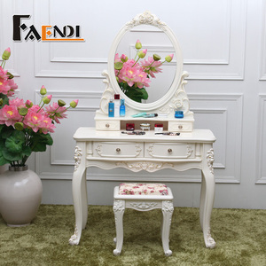 Home Furniture Ivory Vanity Oval Mirror 4 Drawers Wood Makeup Dressing Table