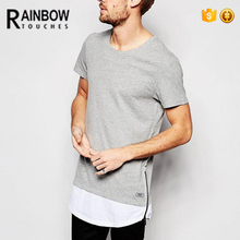 Custom New Model Fashion Rounded Hem Longline Cotton Men T Shirt