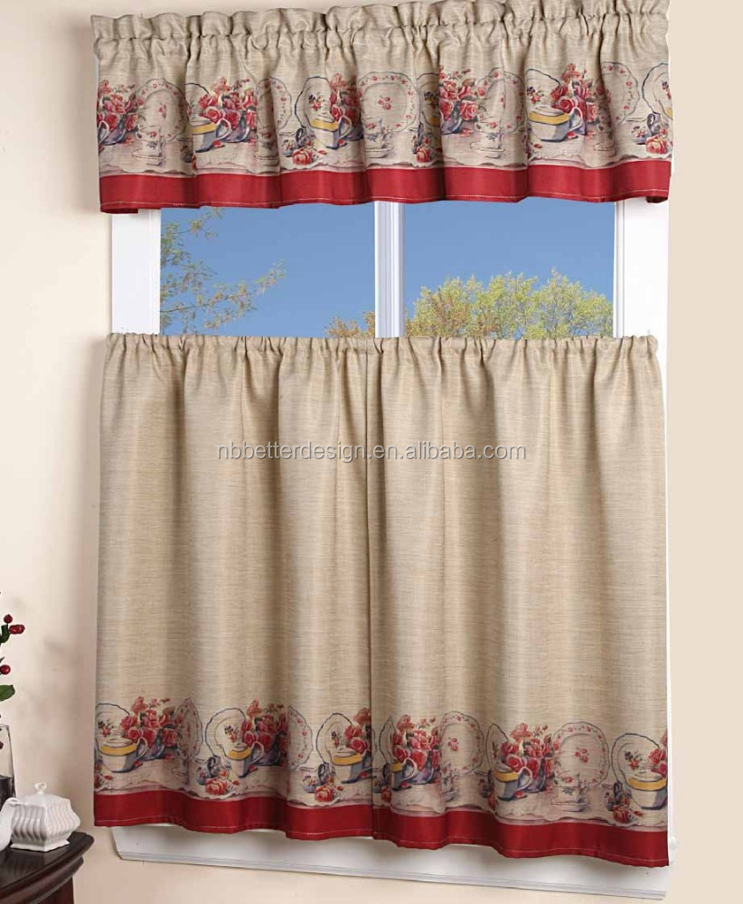 3 pcs Flower Design Faux Linen Printed Fancy Kitchen Window Curtains Panel Ready Made Best kitchen items a to z