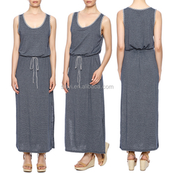 stylish summer vestidos Women Sleeveless sexy night dress Solid Color Cotton High Waisted Dress Striped split Long Maxi Dresses