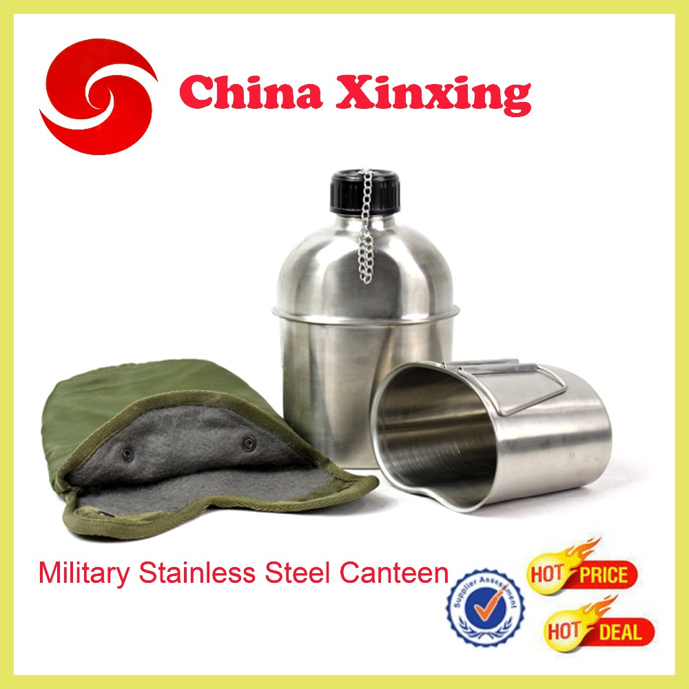 military stainless steel water bottle Military canteen or mess tin for army
