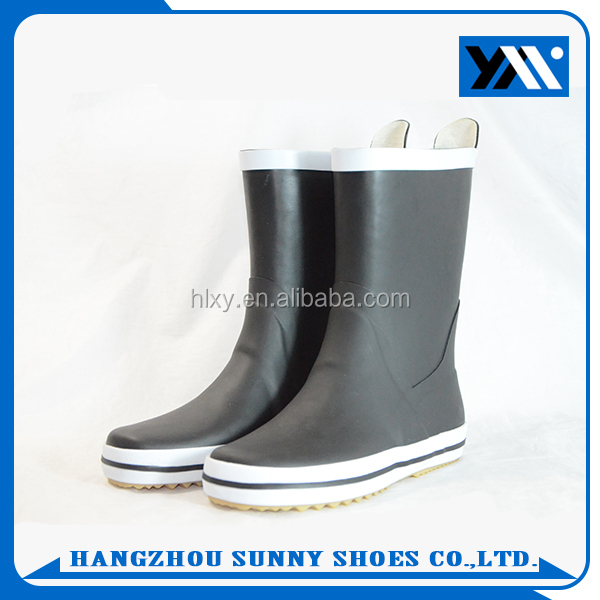 High Quality Custom Cheap Women Half Knee Black Rubber Rain Boots