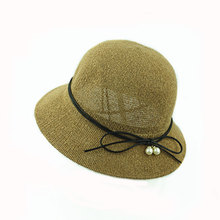 New design lady pearl butterfly knot small pots hats fisherman's straw hat