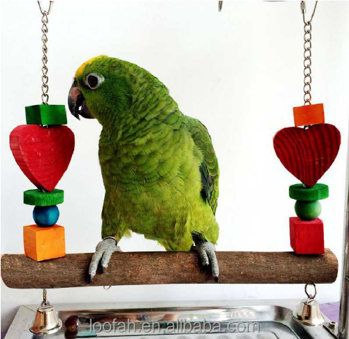 Wooden Pet Bird Stand Toys Colorful Arch Bridge Swing Chew Toys With Bells for Parrot Parakeet Cockatiel Pets Birds Accessories