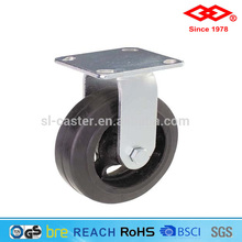4 inch solid rubber cast iron hub heavy duty rigid caster wheel