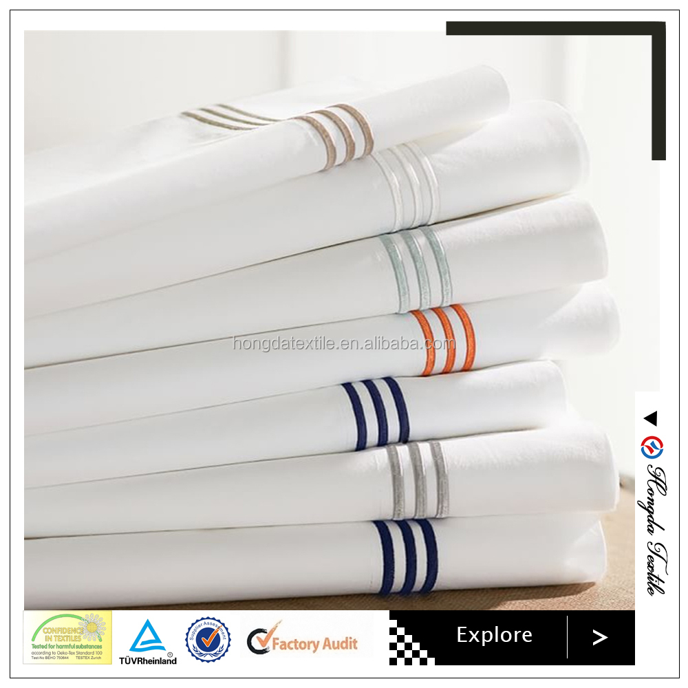 Cotton and polycotton white bed sheet, Satin Stripe/Jacquard/Plain white flat sheet/fitted sheet/duvet cover/hotel bedding sets
