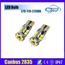Car White/warm LED Light 22SMD 2835 LED PCB T10 W5W 147 Wedge Door Instrument Side Bulb Lamp DC 12V