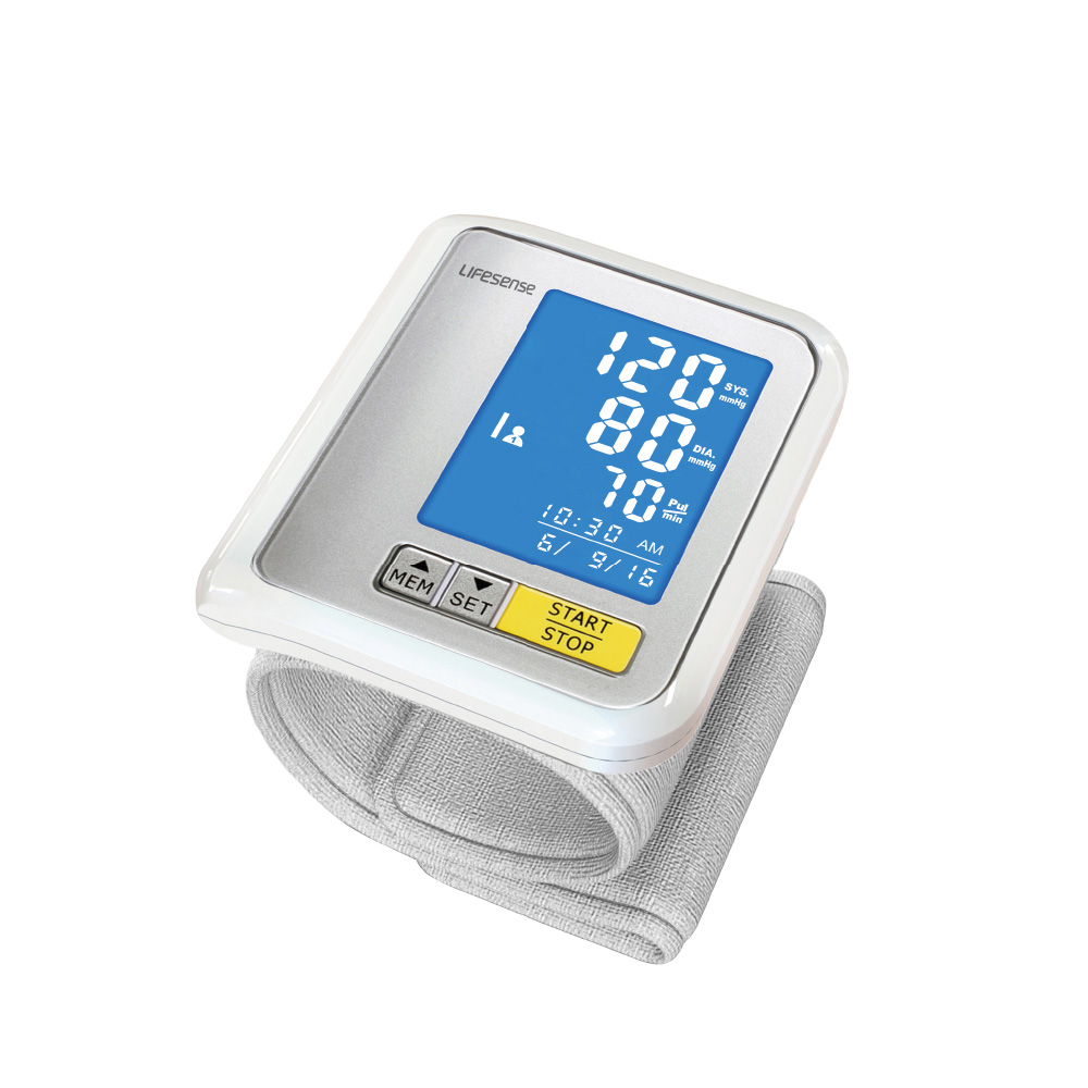 Bluetooth 4.0 digital wrist blood pressure monitor watch with large LCD display