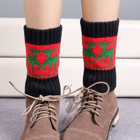 Christmas Elk Design Lady Knitted Crocheted Boot Cuffs W110