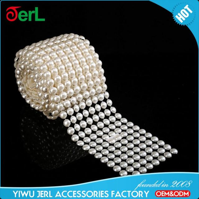 High end trendy style fashion garment decoration pearl beads chain