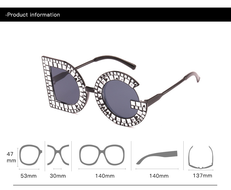 Free Shipping 2019 New Fashion Plastic Frame Diamond Oversize Letter Shape Sunglasses for Women