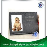 Best Price 25x19cm Unique Handmade Decorative Natural Slate Stone Picture Frame With Chalk Holder(Customized Laser Design)
