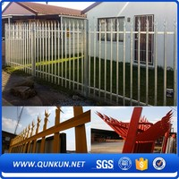 High Quality Power Coated Spear Curved Top Steel Palisade Fencing Security Fence