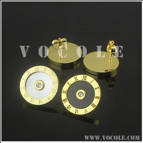 Watch design circle stud earrings with shining drills gold jewelry