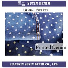 Full tencel round dot printed denim fabric price