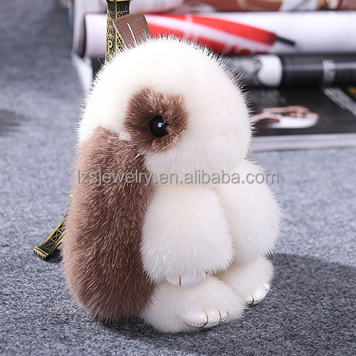 Genuine Mink Fur Antique Copenhagan Rabbit Keychain