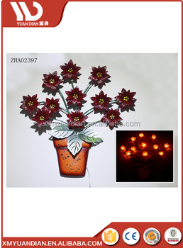 hot sale solar lighted antique wall hanging metal with flower design wall light for outdoor decoration