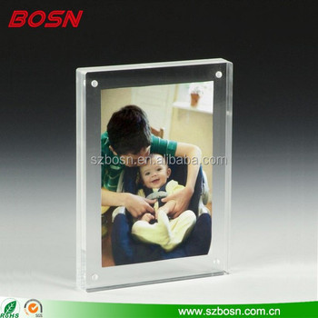 Clear Acrylic Magnetic Picture Frame For Tabletop, Double Sided Box