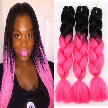24 inch Ombre Braiding Hair Synthetic Jumbo Braids Hair Extensions 100g