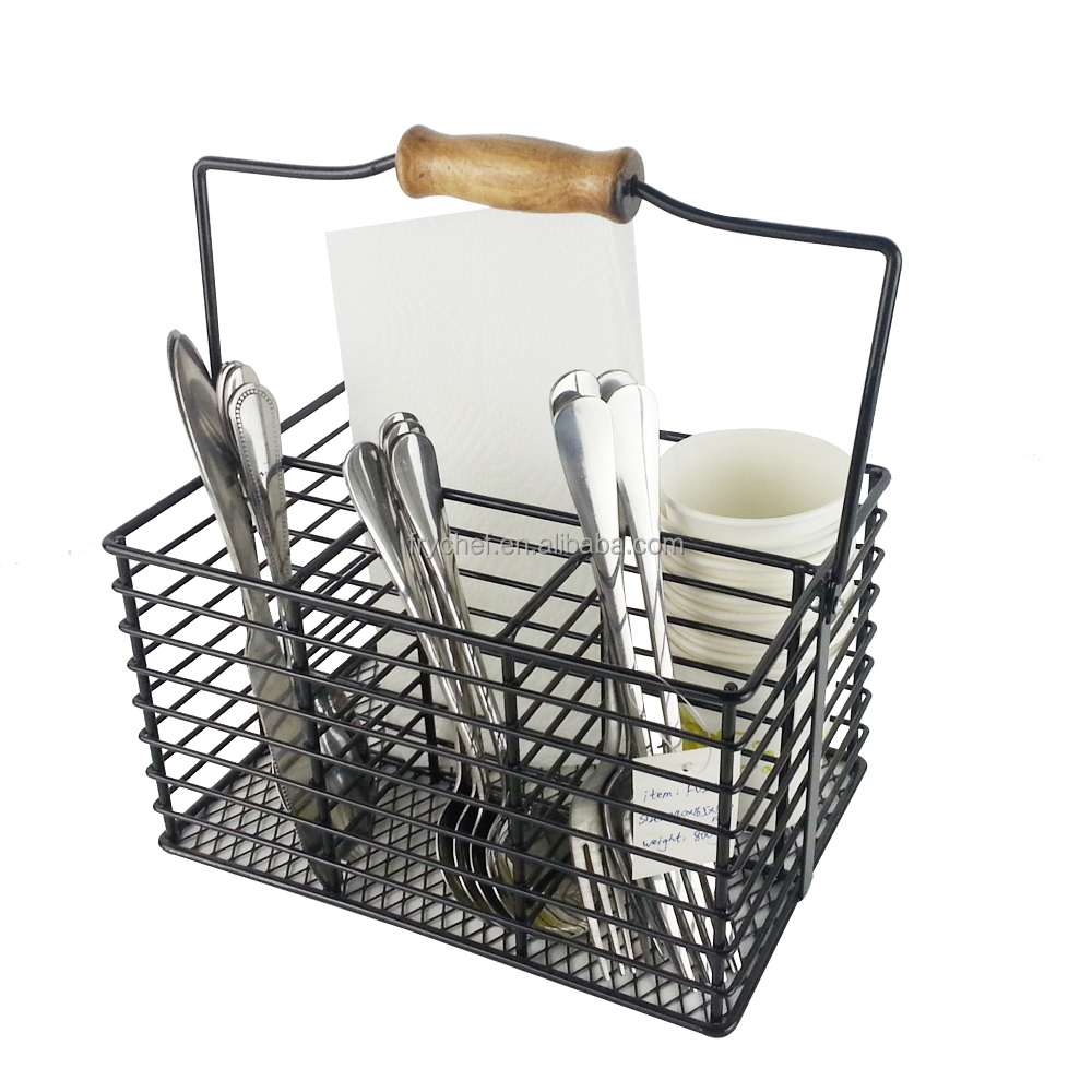 Stainless Metal Utensil Caddy Cutlery Carrying Storage Organizer Napkin Holder Seasoning Bottle Basket for Picnic BBQ Buffet