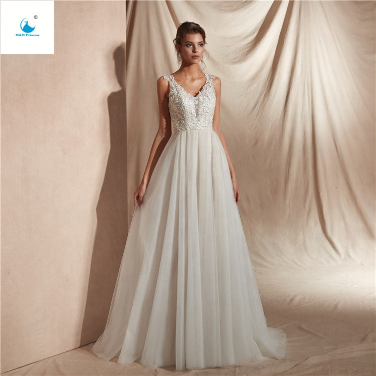 2019 New Collection Sexy Halter Backless Applique White Lace Fabric Beaded Pearls Layered satin Ruffle Wedding Dress
