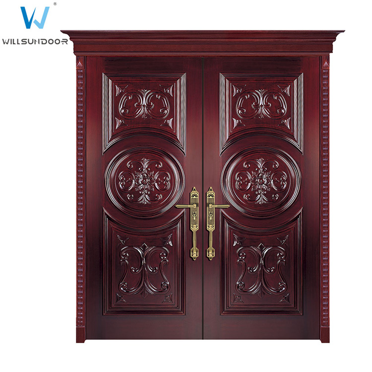 Red walnut veneer laminated wood door double main door for Double door designs for main door