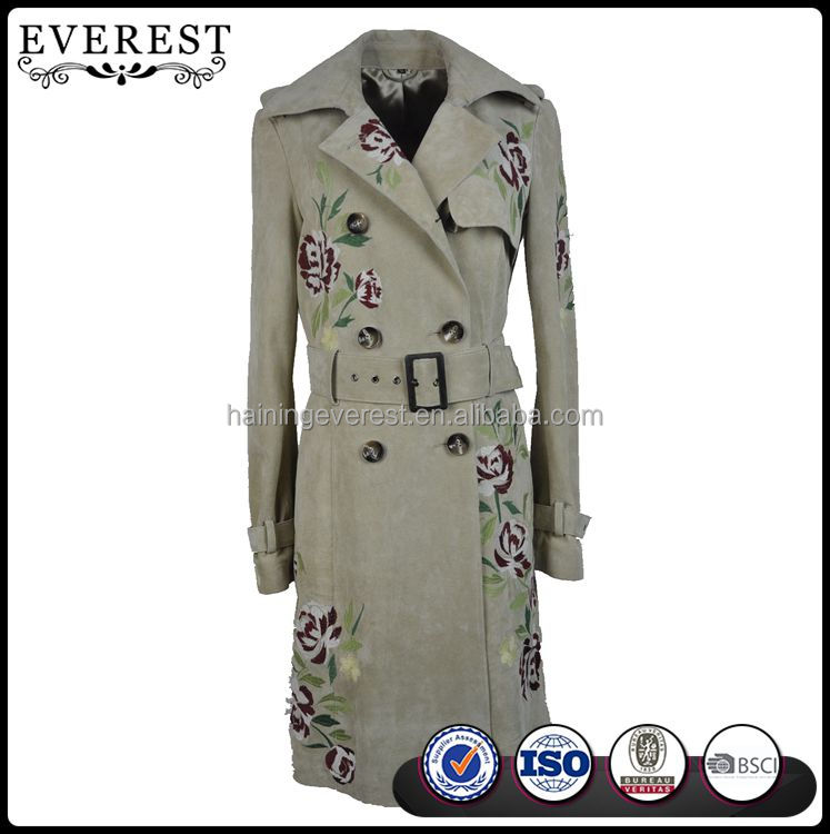 Embroidered Leather Trench Coat New Product Women Trench Coat