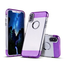 NEW 5 Colors Special Smart Phone Back Cover Metal Button Transparent TPU Case for iPhone X