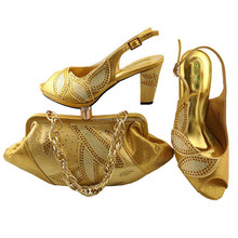 Newest fashion Nigeria design shoes and bag set Low heel Italian shoes and bag sets for women attend party