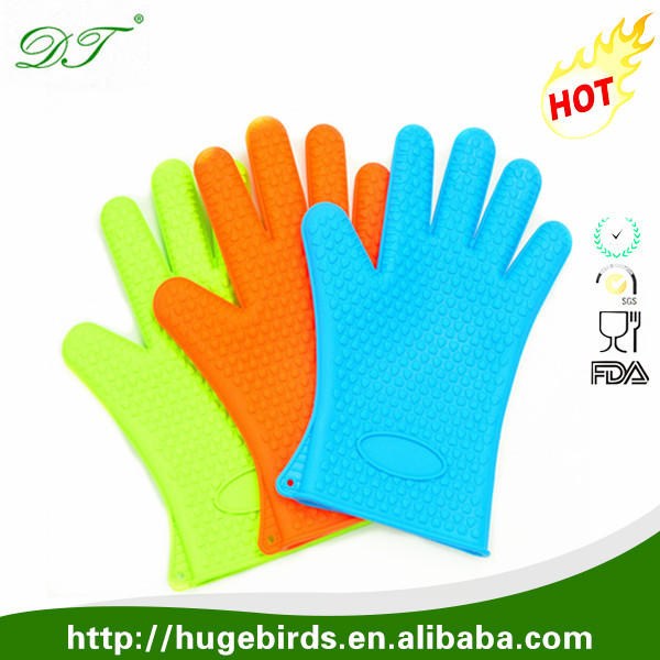 FDA&LFGB approval silicone 5 fingers tips cooking gloves
