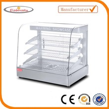 Catering equipment commercial electric curved glass cheap food display warmer showcase