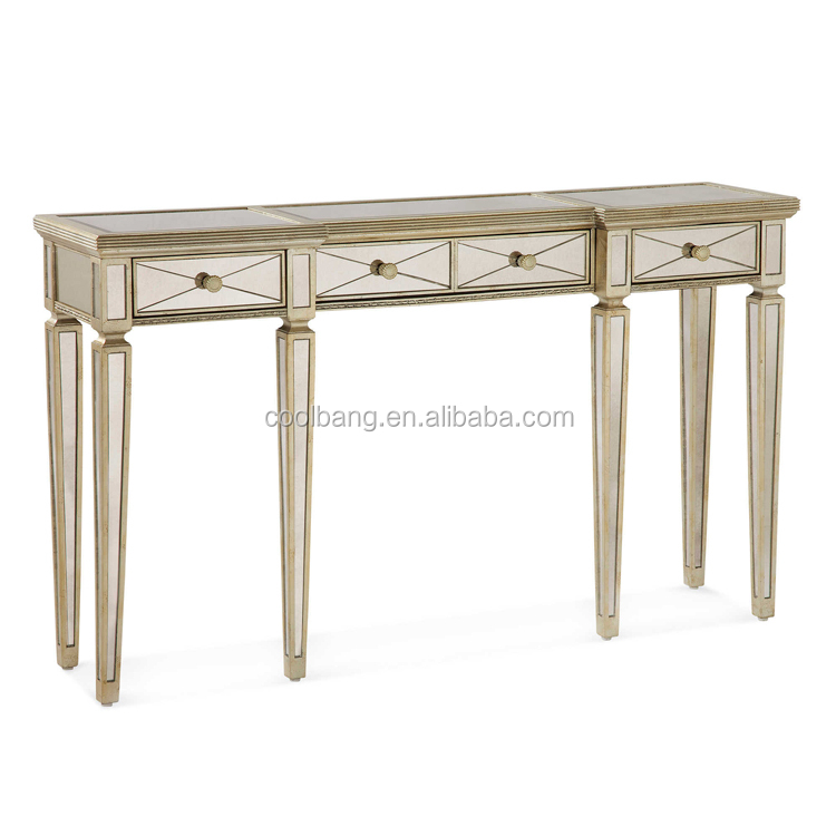 Coolbang contemporary mirrored console table with drawers