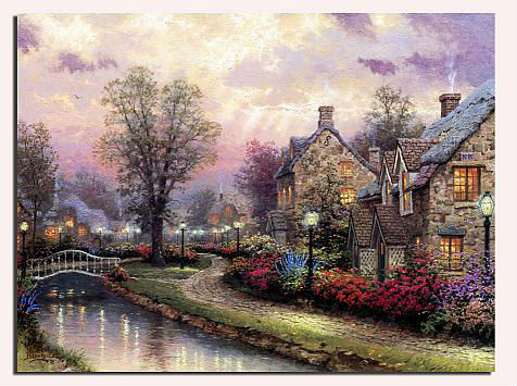Summer river cottage famous reproduction oil timer canvas picture with led light