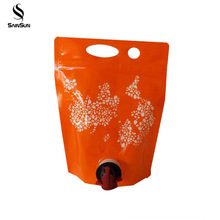 Colored die cut 20l empty wine packaging plastic bag in box valve