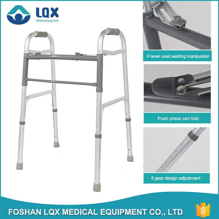 Dual Release Aluminum Folding Walker with wheel without wheel