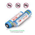 Pack of 4pcs 2500mAh AA Rechargeable Batteries 1.2V Ni-MH High-Capacity Low Self Discharge - UL Certificate