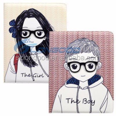 Tablet case cover boy and girl Folio Leather case for ipad 2 3 4
