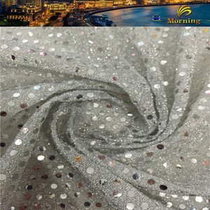 100% Polyester Knit Jersey Lame Fabric 3mm Cheap Sequin Fabric