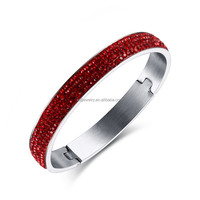 2016 newest half pave red shiny rhinestone design silver bangle for women high quality stainless steel jewelry