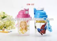 350ml kid plastic water bottle with straw strap