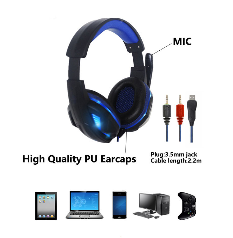 Super Bass Earphone Sport Headphones Noise Canceling With Mic Gaming Headset