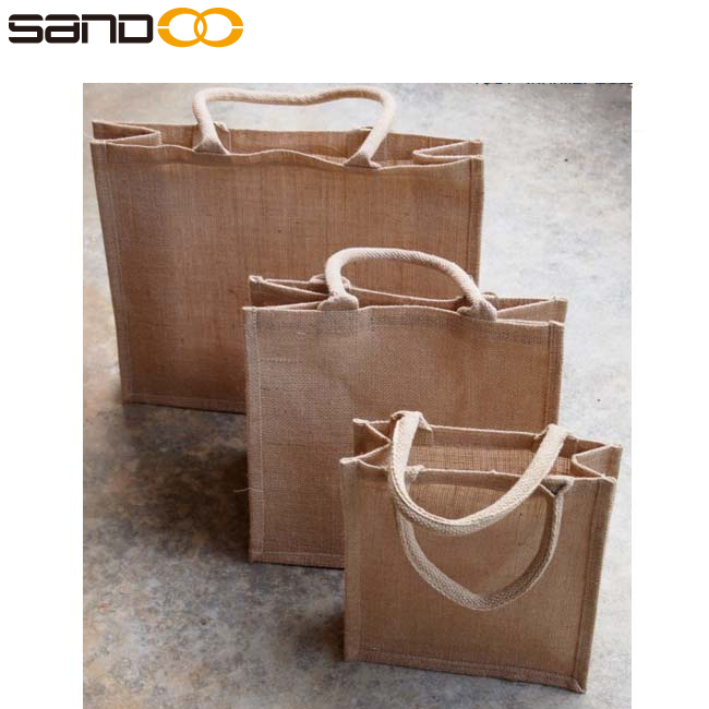 Wholesale factory price laminated promotional cheap jute shopping bag