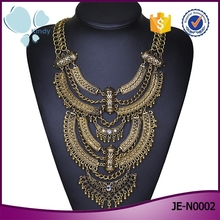 Trendy South American design jewelry antique gold plated ethnic necklace