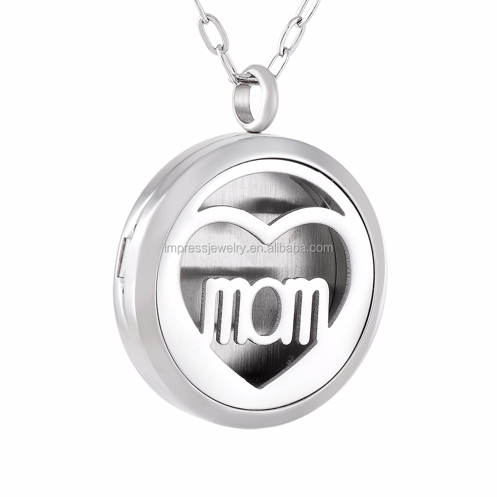 IJP0124 Hot Selling Women Gift Wholesale 316L Stainless Steel Mom Heart Essential Oil Locket necklace diffuser pendant