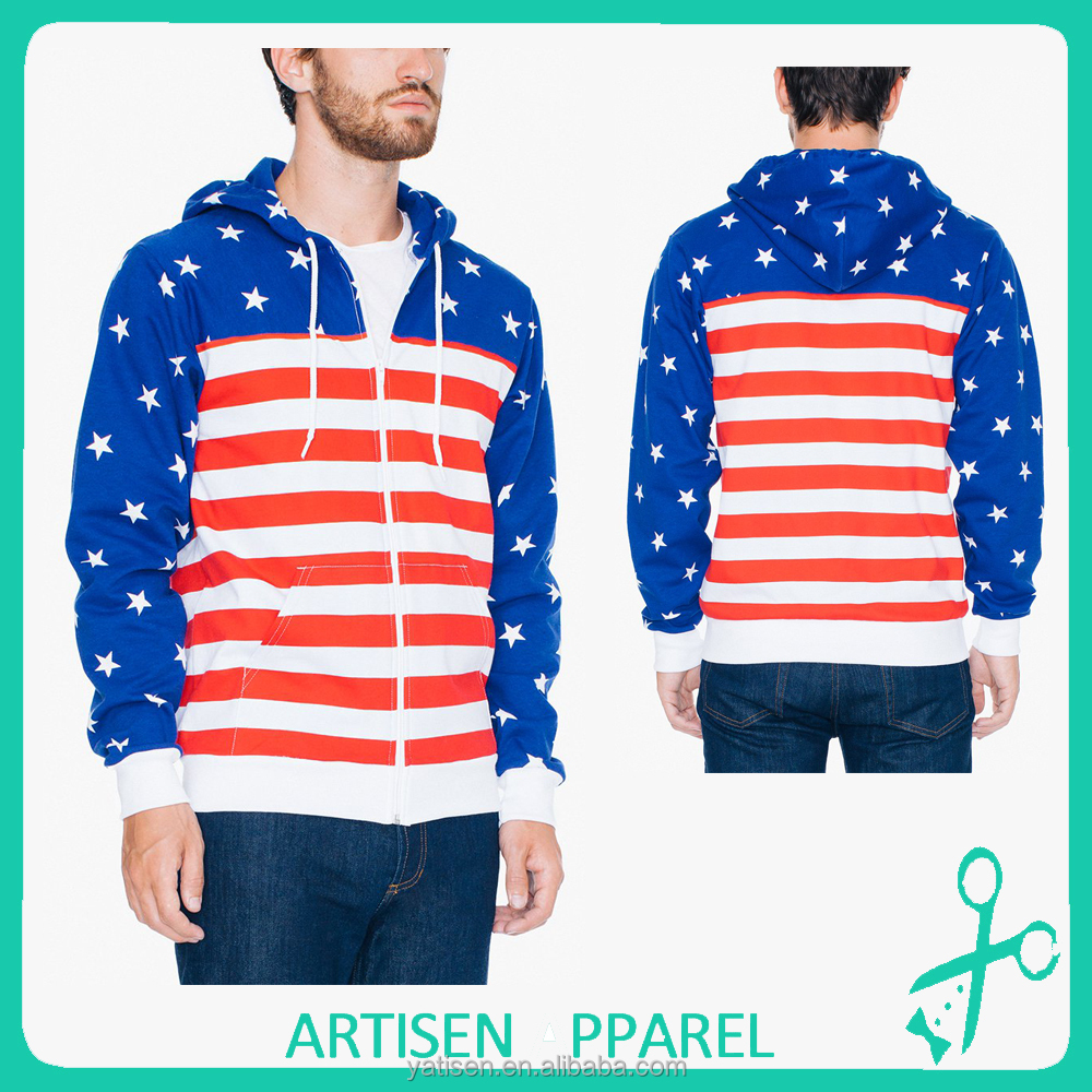 Hot Fashion Man 100% Polyester US Flag California Fleece Zip Hoodies