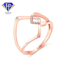 AC0242 Factory Low Price Unique Design Real 18K Solid AU750 Rose Gold Diamond Jewelry Rings