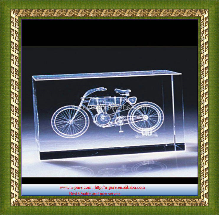 custom motorcycle 3d laser crystal cube for gift